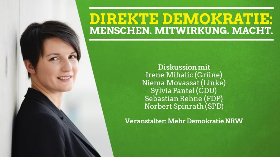 Irene Mihalic am 29. August, 19:30 Uhr, Bürgerhaus Bilk